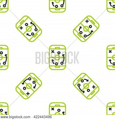 Line Planning Strategy Concept Icon Isolated Seamless Pattern On White Background. Hockey Cup Format