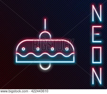 Glowing Neon Line Chandelier Icon Isolated On Black Background. Colorful Outline Concept. Vector Ill
