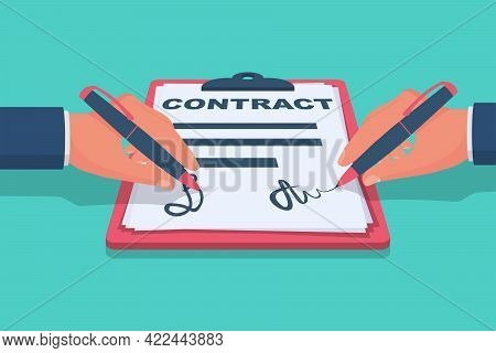 Two Businessman Signs Contract Partner. Legal Paper Document With Signature, Stamp. Icon Handshake O