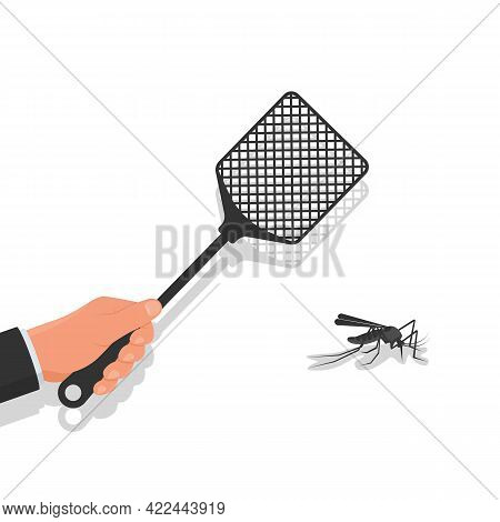 Kill Mosquita. Red Fluff In Man Hands. Carton Icon. Vector Illustration Flat Design. Isolated On Whi