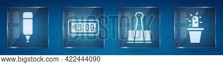 Set Marker Pen, Digital Alarm Clock, Binder Clip And Cactus And Succulent In Pot. Square Glass Panel