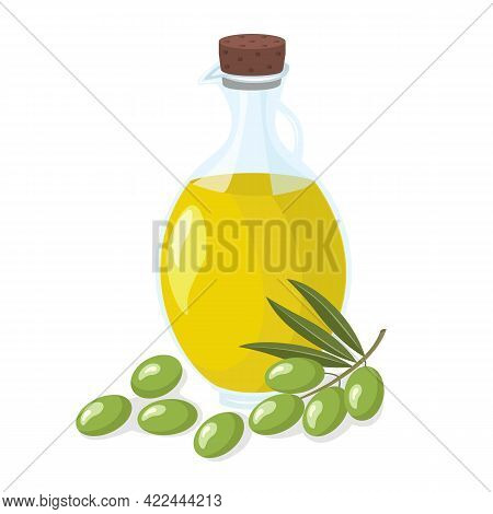 Olive Oil In Bottle With Green Olives With Leaves On A White Background. Olive Of Useful Natural Org