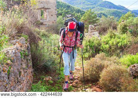 Girl  in hike in Lycian way, Turkey