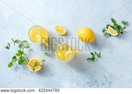 Lemonade. Homemade Fresh Drink With Lemon And Mint, Overhead Flat Lay Shot. Healthy Citrus Detox Ice