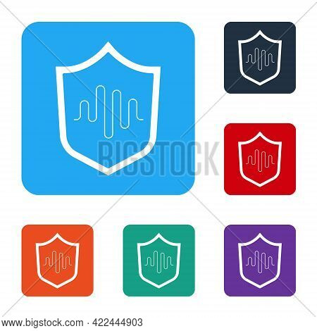 White Shield Voice Recognition Icon Isolated On White Background. Voice Biometric Access Authenticat