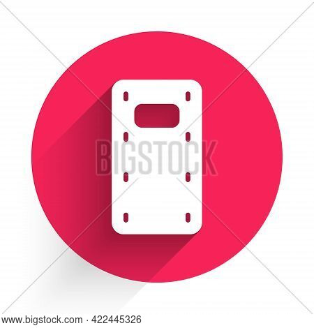 White Military Assault Shield Icon Isolated With Long Shadow. Red Circle Button. Vector
