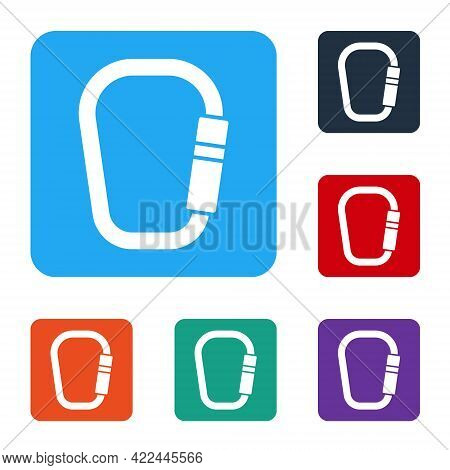 White Carabiner Icon Isolated On White Background. Extreme Sport. Sport Equipment. Set Icons In Colo