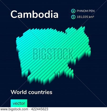 Stylized Striped Isometric Neon Vector Cambodia Map With 3d Effect. Map Of Cambodia Is In Green And