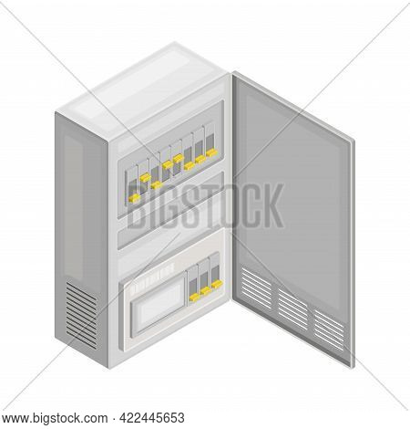 Electric Switchboard Or Cabinet As Power Object Isometric Vector Illustration
