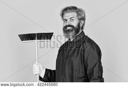 Cleaning Day. Cleaning Agency. Worker With Brush. Cleaning Equipment. Yardman Occupation. Bearded Hi
