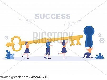 Success Vector Illustration Of Achieving Vision, Goal, Planning, Target, Strategy, Action, Consisten