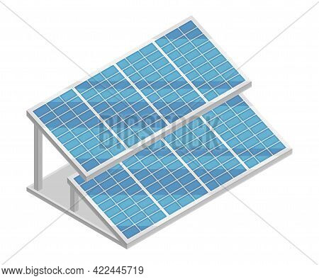 Solar Panel Or Photovoltaic Module As Electric Power Object Isometric Vector Illustration