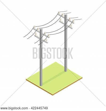 Utility Pole Supporting Overhead Electric Power Lines Isometric Vector Illustration