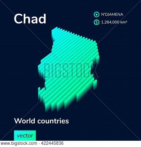 Stylized Striped Vector Isometric 3d Map Of Chad With 3d Effect. Map Of Chad Is In Neon Green And Mi