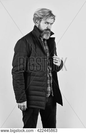 For Successful Living. Winter Fashion. Guy Wear Black Winter Jacket. Stylish And Comfortable. Winter