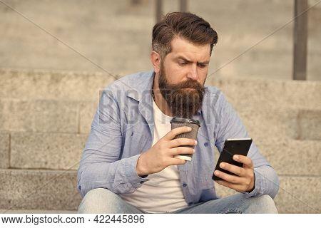 Take Break, Drink Some Coffee. Hipster Hold Takeaway Cup And Smartphone. Coffee Break. Morning Break