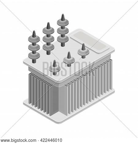 Voltage Transformer As Electric Power Object Isometric Vector Illustration