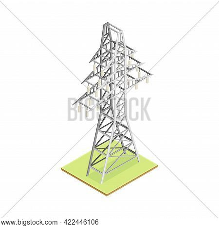 Transmission Tower With Overhead Power Line As Electric Object Isometric Vector Illustration