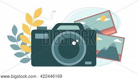 The Work Of A Photographer. Professional Digital Camera. Vector Illustration On White Background