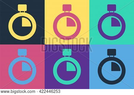 Pop Art Stopwatch Icon Isolated On Color Background. Time Timer Sign. Chronometer Sign. Vector