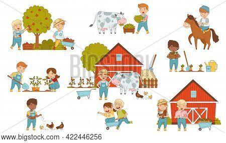 Little Children Working On The Farm Feeding Livestock, Harvesting And Gardening Vector Set