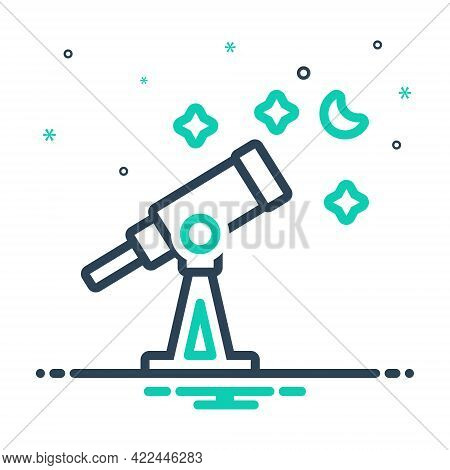 Mix Icon For Telescope Astronomy Discover Cosmos Space Scope Equipment Magnify Observation Spyglass
