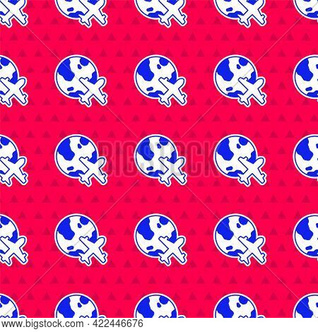 Blue Globe With Flying Plane Icon Isolated Seamless Pattern On Red Background. Airplane Fly Around T