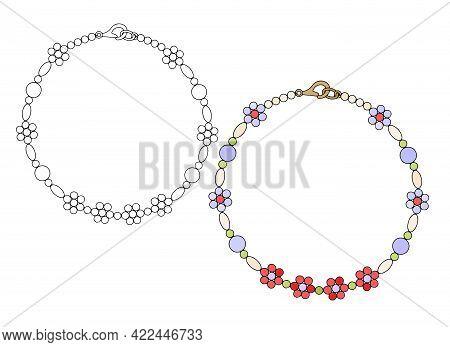 Handmade Bracelet Made Of Multicolored Beads. Beading. Vector Illustration