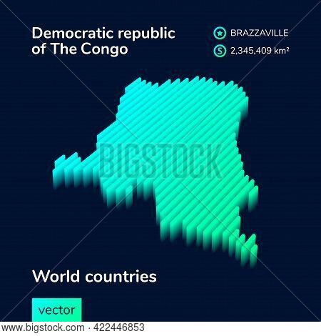 Stylized Striped Vector Map Of Democratic Republic Of The Congo With 3d Effect. Map Of Democratic Re