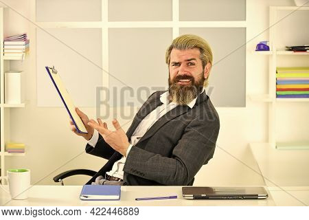 Man Bearded Boss Sit Office. Manager Solving Business Problems. Businessman In Charge Successful Bus
