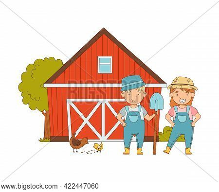 Little Boy And Girl In Overall Standing Near Barn In The Yard With Hens Picking Grains Vector Illust