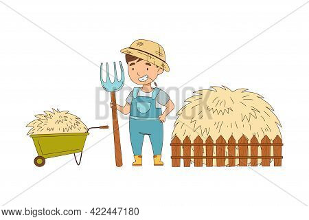 Little Boy In Overall Holding Pitchfork Standing Near Haystack Working On The Farm Vector Illustrati