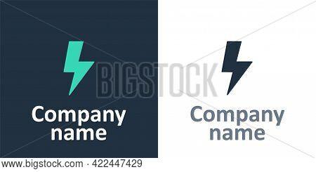 Logotype Lightning Bolt Icon Isolated On White Background. Flash Sign. Charge Flash Icon. Thunder Bo
