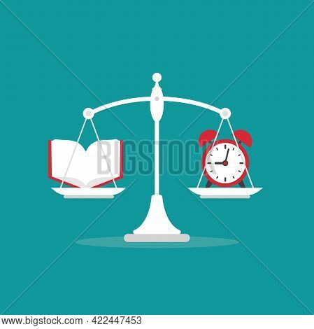 White Mechanical Scales With Clock And Open Book In Pans. Education Value, Study Time Expenses Balan
