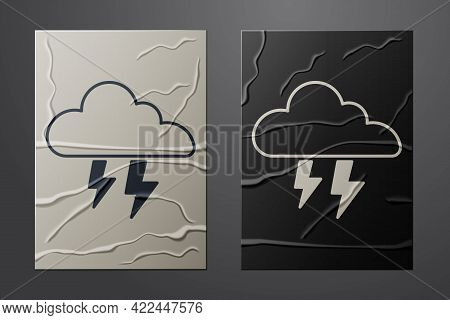 White Storm Icon Isolated On Crumpled Paper Background. Cloud And Lightning Sign. Weather Icon Of St