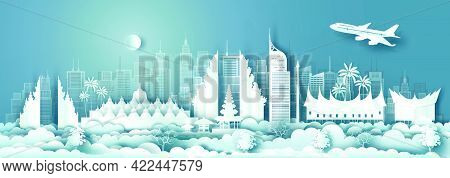 Travel Architecture Indonesia Landmarks In Jakarta Famous City Of Asia On Blue Background With Ballo
