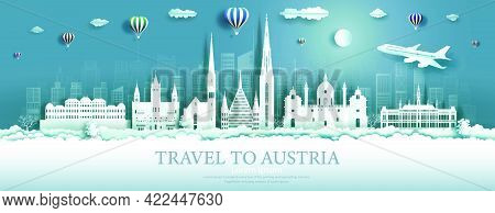 Travel Austria Landmarks In Vienna City With Balloons, Tour Landmark The World To History With Panor