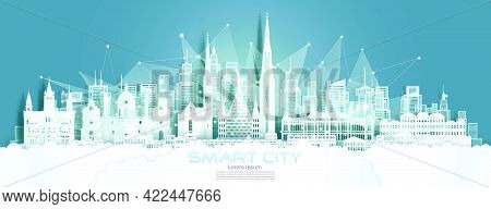 Technology Wireless Network Communication Smart City With Architecture In Austria At Europe Downtown