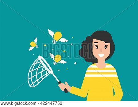 Happy Freelancer Girl With Butterfly Net And Flying Idea Bulbs. Flat Vector Illustration On Blue. Ca