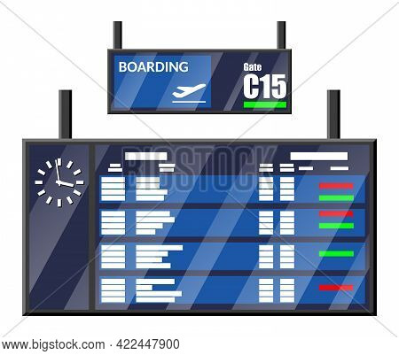 Airport Flip Board. Departure And Arrival Timetable Showing Flight, Destination, Gate, Status And Ti