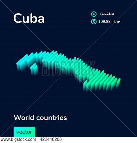 Stylized Striped Vector Isometric Map Of Cuba With 3d Effect. Map Of Cuba Is In Neon Green And Mint