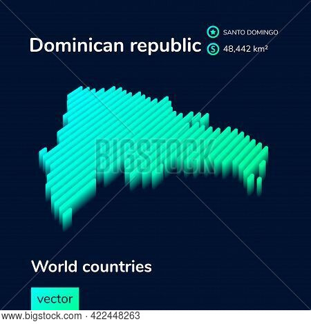 Vector Digital Neon Isometric Striped Contour Dominican Republic Map With Information About Country.