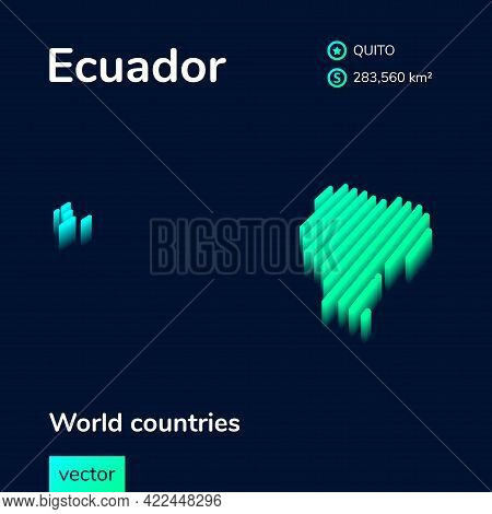 Stylized Striped Vector Isometric Map Of Ecuador With 3d Effect. Map Of Ecuador Is In Neon Green And