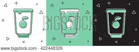 Set Yogurt Container Icon Isolated On White And Green, Black Background. Yogurt In Plastic Cup. Vect