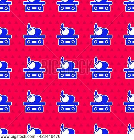 Blue Electronic Scales For Product Icon Isolated Seamless Pattern On Red Background. Weight For Food