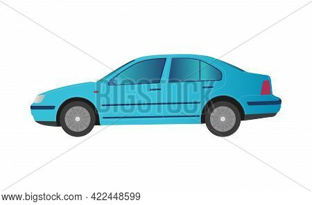 Blue Car Sedan On White Background - Vector Illustration