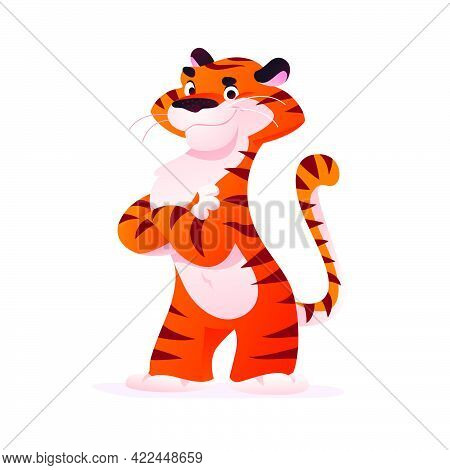Portrait Of Funny Tiger Character Stand Isolated On White Background. Flat Cartoon Style. For Compan