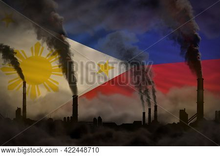 Heavy Smoke Of Industry Chimneys On Philippines Flag - Global Warming Concept, Background With Place