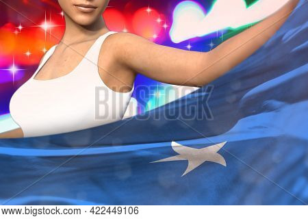 Beautiful Woman Is Holding Somalia Flag In Front Of Her On The  Party Lights - Flag Concept 3d Illus