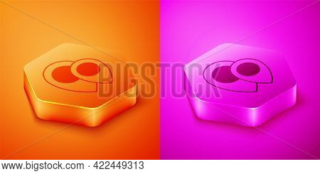 Isometric Map Pin Icon Isolated On Orange And Pink Background. Navigation, Pointer, Location, Map, G